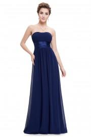 Очарователна официална рокля без презрамки в тъмно синьо (R9919)