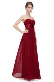 Очарователна официална рокля без презрамки в бордо (R9920)