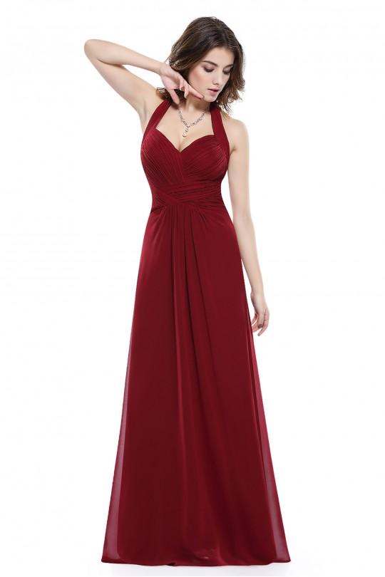 Пленителна дълга официална рокля в бордо (R9921)