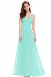 Нежна официална рокля с V-образно деколте (R9932)