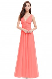 Нежна официална рокля в цвят корал(R9933)