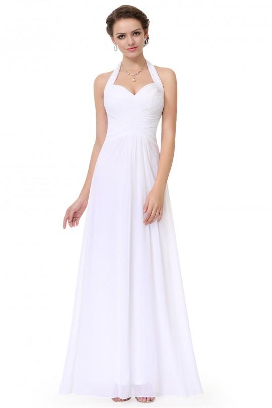 Пленителна дълга официална рокля в бяло (R9934)