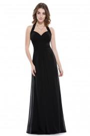 Пленителна дълга официална рокля в черно (R9935)