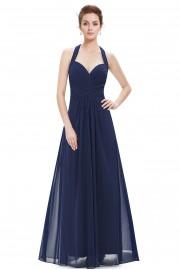 Пленителна дълга официална рокля в тъмно синьо (R9936)