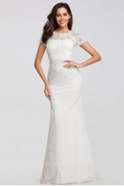 Нежна бяла дантелена официална рокля (R9972)