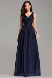 Изящна дълга тъмно синя официална рокля с V-образно деколте (RO99053)