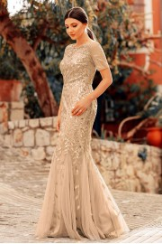 Разкошна официална дълга рокля тип русалка в златно (RO99056)