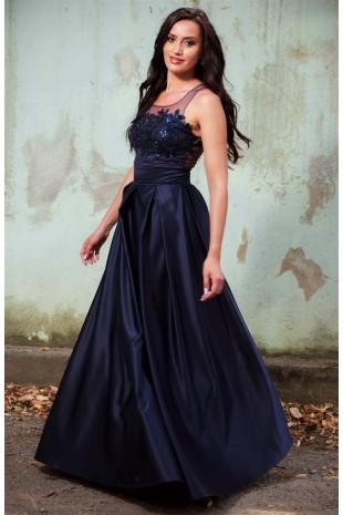 Дълга бална рокля тип принцеса в тъмно синьо (RO99071)