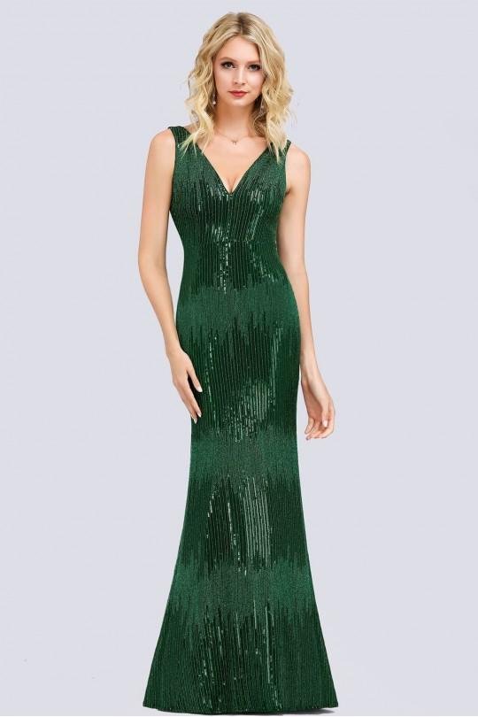 Елегантна дълга бална рокля тип русалка с остро деколте в зелено ( RO99103)