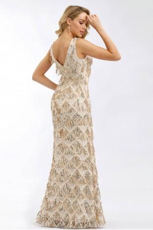 Уникална дълга бална рокля тип русалка с пайети в златно (RO99115)