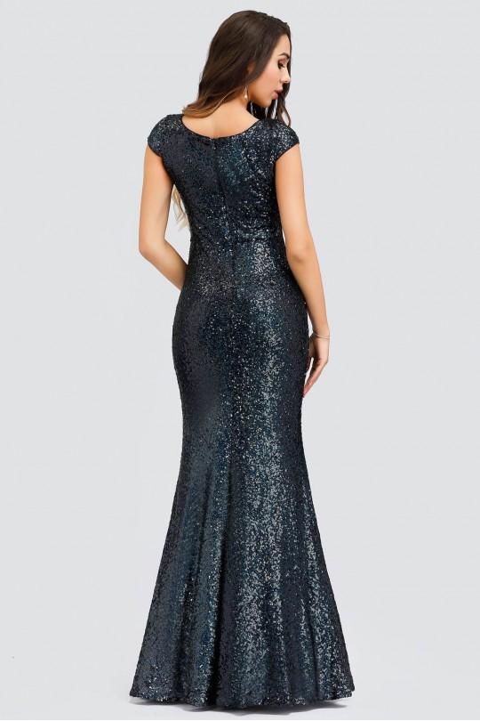 Дълга бална рокля тип русалка с пайети в преливащо синьо-зелено (RO99121)