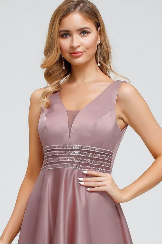 Дълга асиметрична официална рокля в цвят пепел от рози (RO99123)