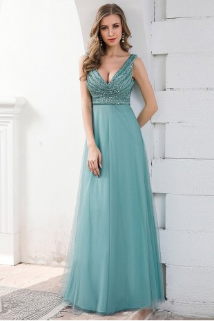 Дълга бална рокля с нежна пола и пайетена горна част в цвят dusty blue (RO99128)