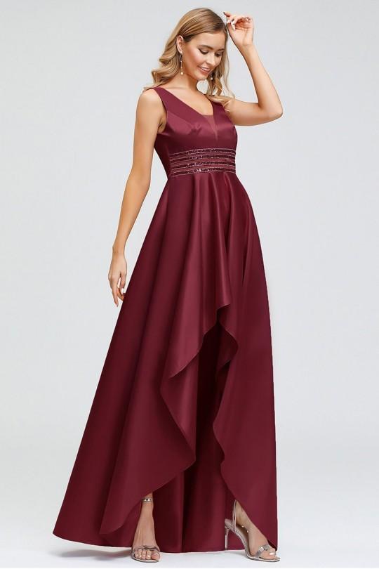 Дълга асиметрична бална рокля в цвят бордо (RO99131)
