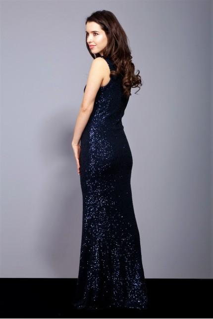 Блестяща дълга бална рокля тип русалка в тъмно синьо с пайети (RO99132)