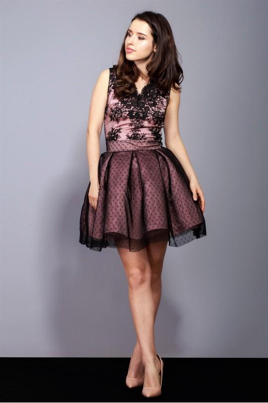 Къса официална разкроена рокля с черна дантела (RO99133)