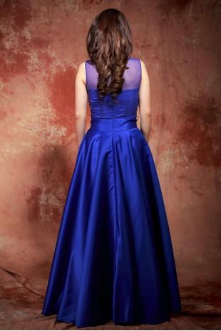 Дълга бална сатенена рокля тип принцеса в кралско синьо (RO99134)