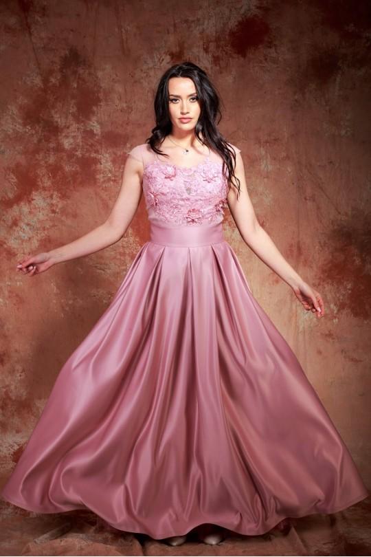 Вълшебна бална рокля тип принцеса в цвят пепел от рози (RO99135)