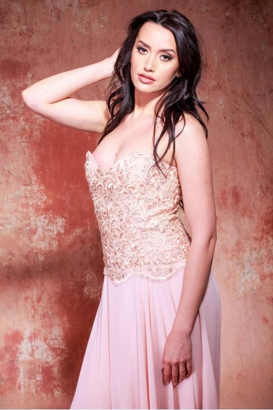 Очарователна официална рокля тип бюстие в цвят праскова (RO99136)