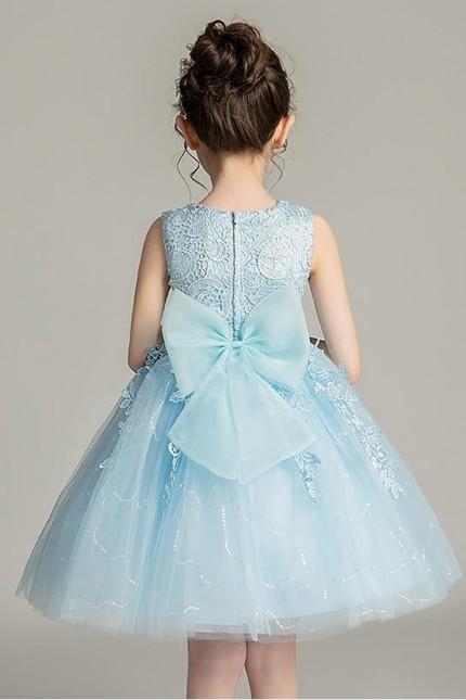 Детска официална рокля с дантела в светло синьо (D01)