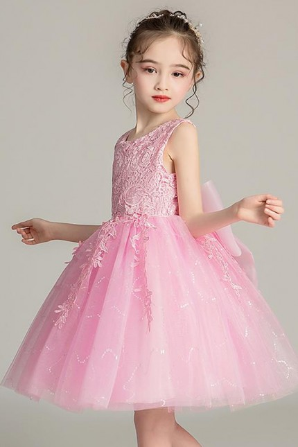 Розова детска официална рокля с дантелена горна част (D02)