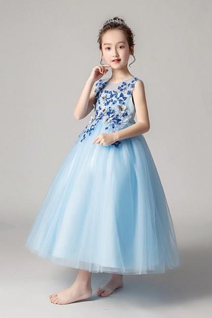 Детска официална рокля с 3D дантела с пеперуди и перлички (D03)