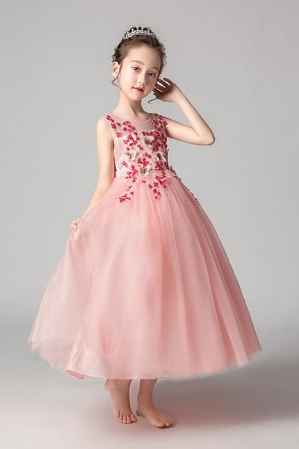 Розова детска официална рокля с 3D дантела с пеперуди (D04)