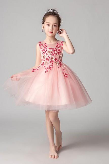 Къса детска официална рокля с дантела в розово (D05)