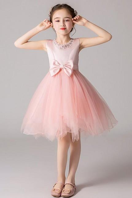 Красива детска официална рокля с панделки (D06)