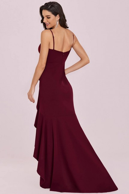 Нежна официална рокля със сърцевидно деколте в бордо (RO99238)