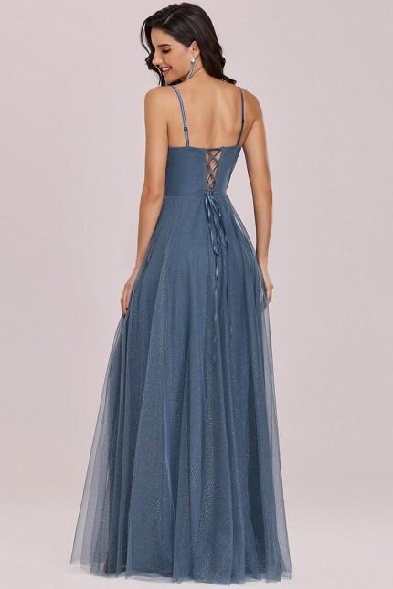 Дълга официална рокля с връзки на гърба и брокатен сребрист тюл (RO99239)
