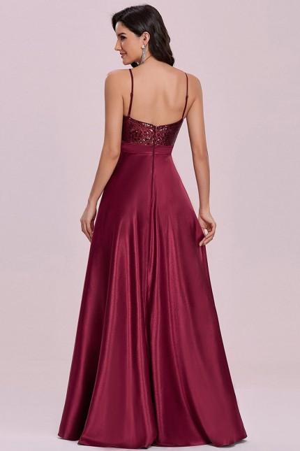 Дълга официална рокля с пайетена горна част и сатенена пола (RO99250)