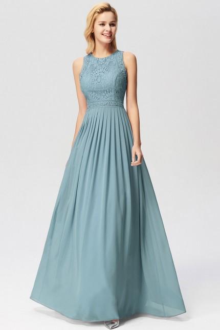 Официална рокля с мека дантела в цвят дъсти блу (RO99251)