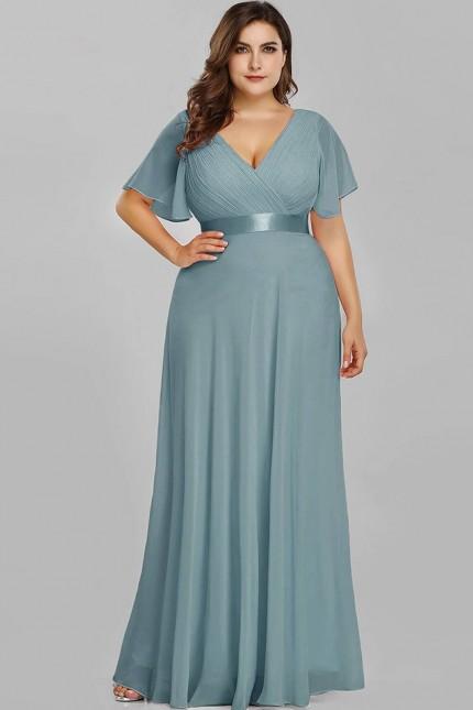Официална дълга рокля в дъсти блу с късо ръкавче (RO99291)