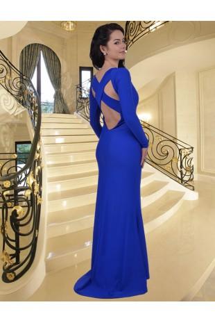 Уникална дълга рокля тип русалка с шлейф (R9189-2)