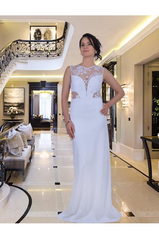 Уникална дълга рокля с дантелена горна част (R9250-3)