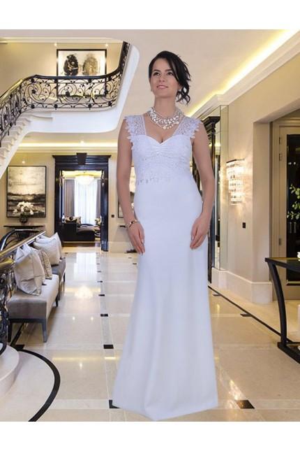 Красива дълга рокля в нежно бяло (BG9325)