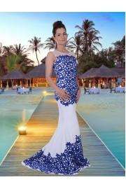 Уникална дълга рокля в бяло с изключителна дантелена апликация (BG9396)