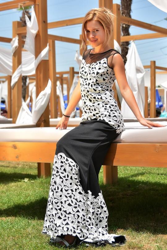 Възхитителна официална дълга рокля с бяла дантела(R9591)