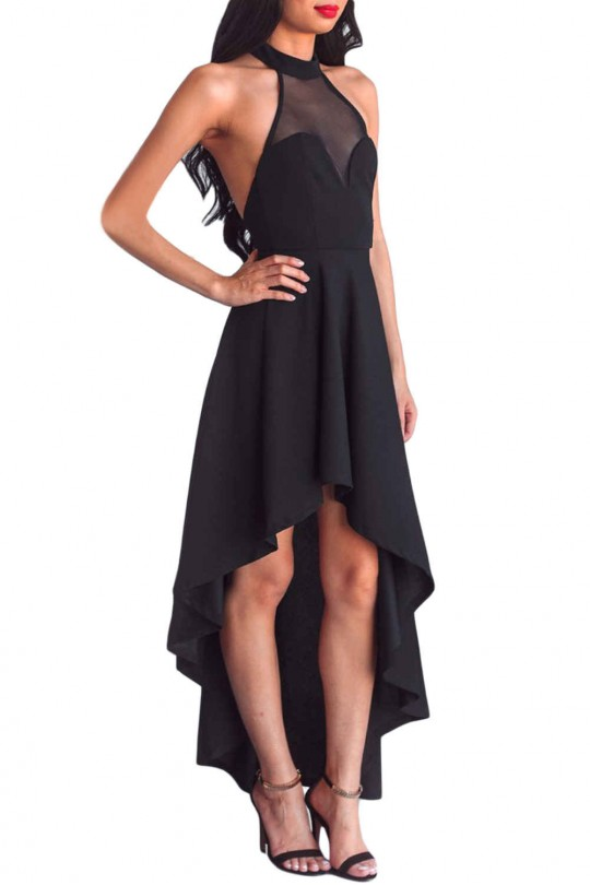 Модерна официална асиметрична рокля с гол гръб(R9618)