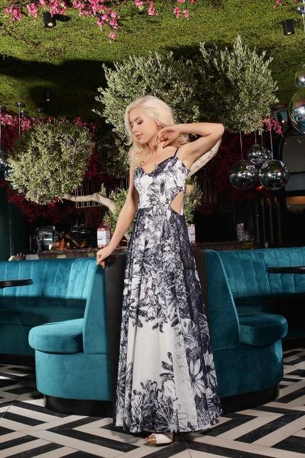 Свежа дълга дантелена рокля с модерен дизайн(R9633)