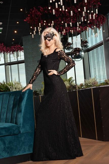 Зашеметяваща официална дантелена рокля с дълги ръкави (R9637)