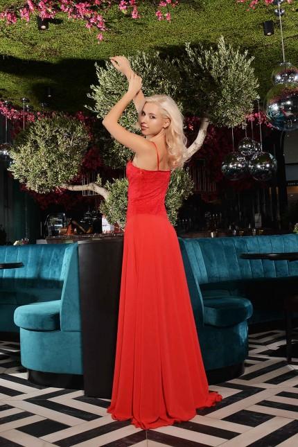 Ослепителна официална рокля в чувствено червено (R9639)