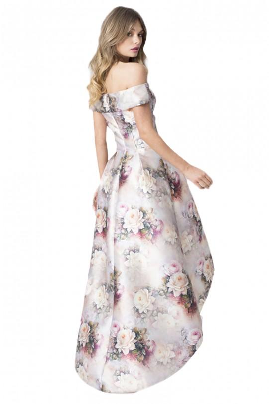 Нежна асиметрична официална рокля във флорални мотиви и голи рамене (R9670)