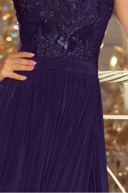 Ослепителна дълга официална рокля с дантела в тъмно синьо (R9743)