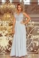 Дълга официална рокля, с красива дантела в сиво (R9754)