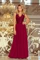 Уникална дълга официална рокля с дантелена горна част в бордо (R9760)