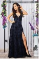 Елегантна дълга официална рокля с цепка и V-образно деколте (R9770)
