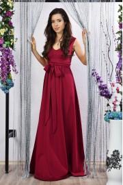 Удобна дълга рокля с ефектен колан в цвят бордо (R9782)