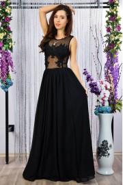 Уникална дълга официална рокля с дантелени апликации (R9783)